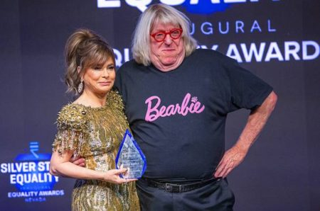 Bruce Vilanch with honoree Paula Abdul